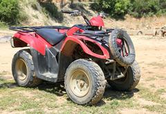 red quad bike atv - stock photo