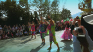 Stock Video Footage of actors dance in colorful costumes