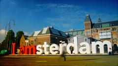 4k,Amsterdam is a capital with a number of monuments and museums. Stock Footage
