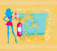 woman applying suntan lotion  - card - stock illustration