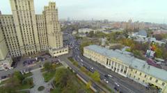 Traffic near tall dwelling house on Kudrinskaya street Stock Footage