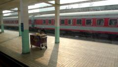 Moving train arrives into Baoji railway station. Stock Footage