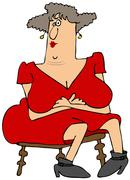 Woman with large breasts - stock illustration