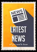 Latest News on Yellow in Flat Design. - stock illustration