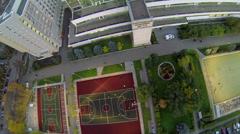 Teams play soccer on playground of sports complex Stock Footage