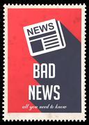 Bad News on Red in Flat Design. Stock Illustration
