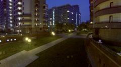 Illumination along yard of dwelling complex Arco di Sole Stock Footage