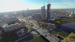 Transport traffic on Dorogomilovskiy road bridge Stock Footage