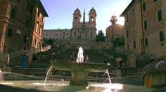 Fountain Old Boat on Spanish square(5)HD Stock Footage