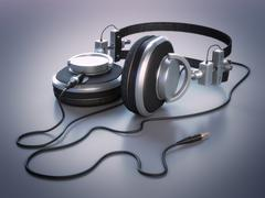 Stock Illustration of headphones (high-res 3d render)