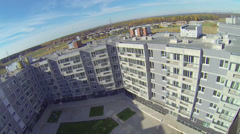 Panorama of new buildings of dwelling complex Romashkovo Stock Footage