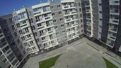 Empty yard near new dwelling complex Romashkovo Stock Footage