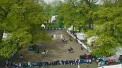 Aerial shot of equestrian sport Stock Footage