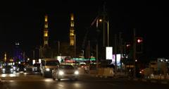 Ultra HD 4K UHD Night Dubai Skyline Masjid Mosque Burj Al Arab Busy Car Traffic Stock Footage