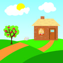 Stock Illustration of farm house with apple trees and sheep