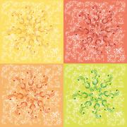 christmas snowflakes in red, yellow, range, green on a scratch old backdrop - stock illustration