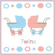 Card for newborn twins Stock Illustration