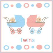 strollers for twins pink and blue with white children boy and girl - stock illustration