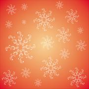 Seamless pattern with snowflakes on a red backgraund Stock Illustration