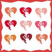 Hand holding the heart, set Stock Illustration