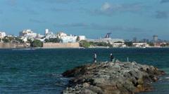 San Juan Bay Puerto Rico fishing pier old town cruise ship HD 0666 Stock Footage