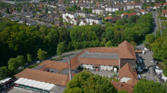 Aerial shot of equestrian sport and castle. Stock Footage