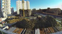 Car traffic near building site of dwelling complex Bogorodskoe Stock Footage