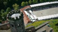 Stock Video Footage of Aerial shot of equestrian sport and castle.