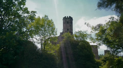 Aerial shot of a castle Stock Footage
