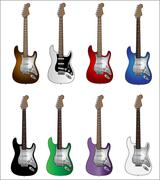 Set Of Eight Basic Colours Electric Guitars Stock Illustration