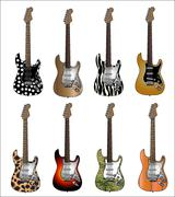 Set Of Eight Deluxe Colour Electric Guitars Vector Illustration Stock Illustration