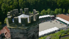 Aerial shot of equestrian sport and castle Stock Footage