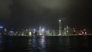 Stock Video Footage of HD video from Kowloon of the Hong Kong skyline at night