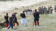 Stock Video Footage of Balaclava battle reconstruction, during the Crimean War 1854-1855
