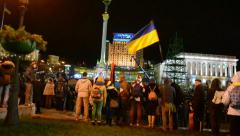 Protesters during Euro maidan meeting in Kiev, Ukraine. Stock Footage