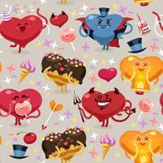 valentines hearts pattern - stock illustration
