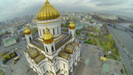Stock Video Footage of Crosses on golden cupolas of Christ the Saviour Cathedral