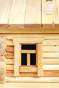 Stock Photo of window of wooden log house