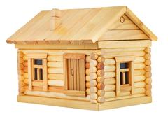 exterior of wooden log house - stock photo