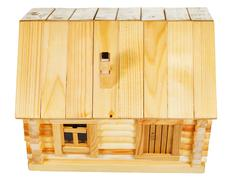 Stock Photo of top view of wooden log house