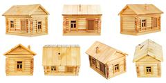 Stock Photo of views of village wooden log house