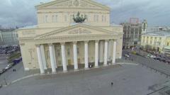 Traffic near edifice of Bolshoy Theater Stock Footage