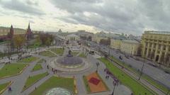 World Clock Fountain on Okhotny Ryad underground shopping mall Stock Footage