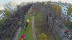 Cityscape with traffic on boulevard at autumn evening in Moscow Stock Footage