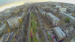 City panorama with traffic on street at autumn evening Stock Footage