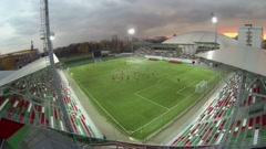 Training of football team on Sports Arena of Locomotive stadium Stock Footage