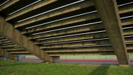 Stock Video Footage of Under Concrete Bleachers