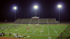 Football Stadium Practice From Above Stock Footage