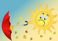 The sun with an umbrella Stock Illustration