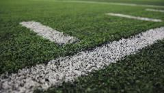 Football Field Boundary Line on Turf Stock Footage